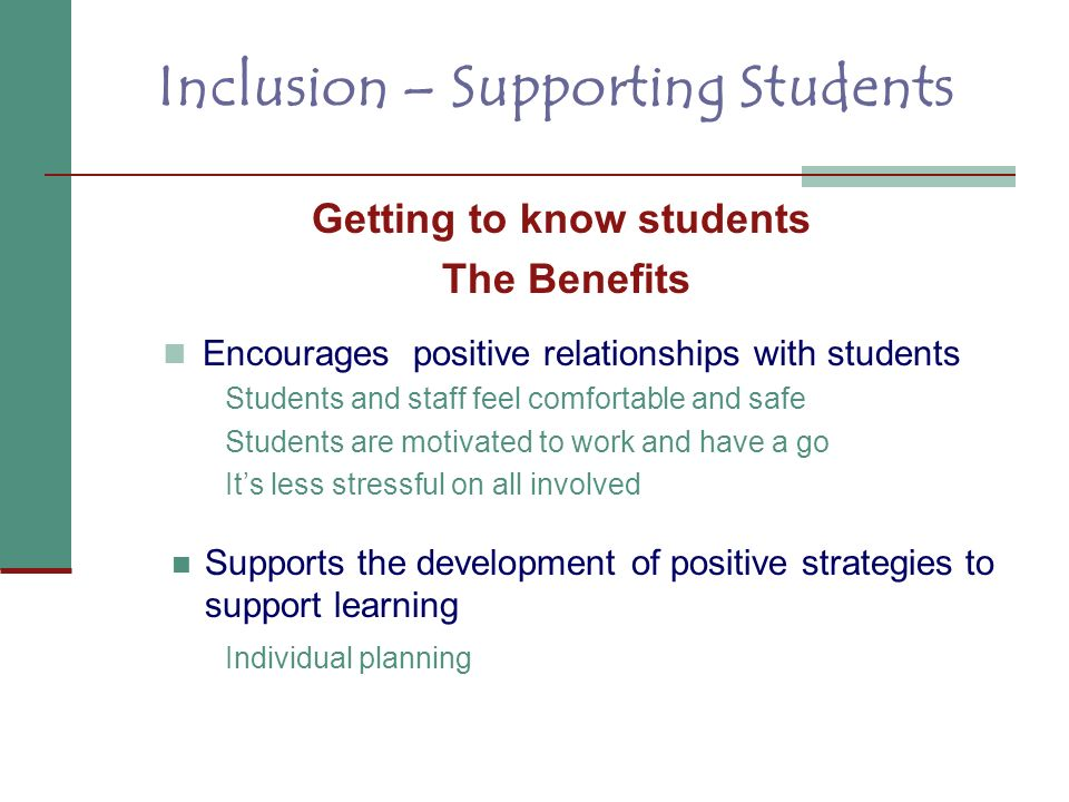 Inclusion – Supporting Students Getting to know students