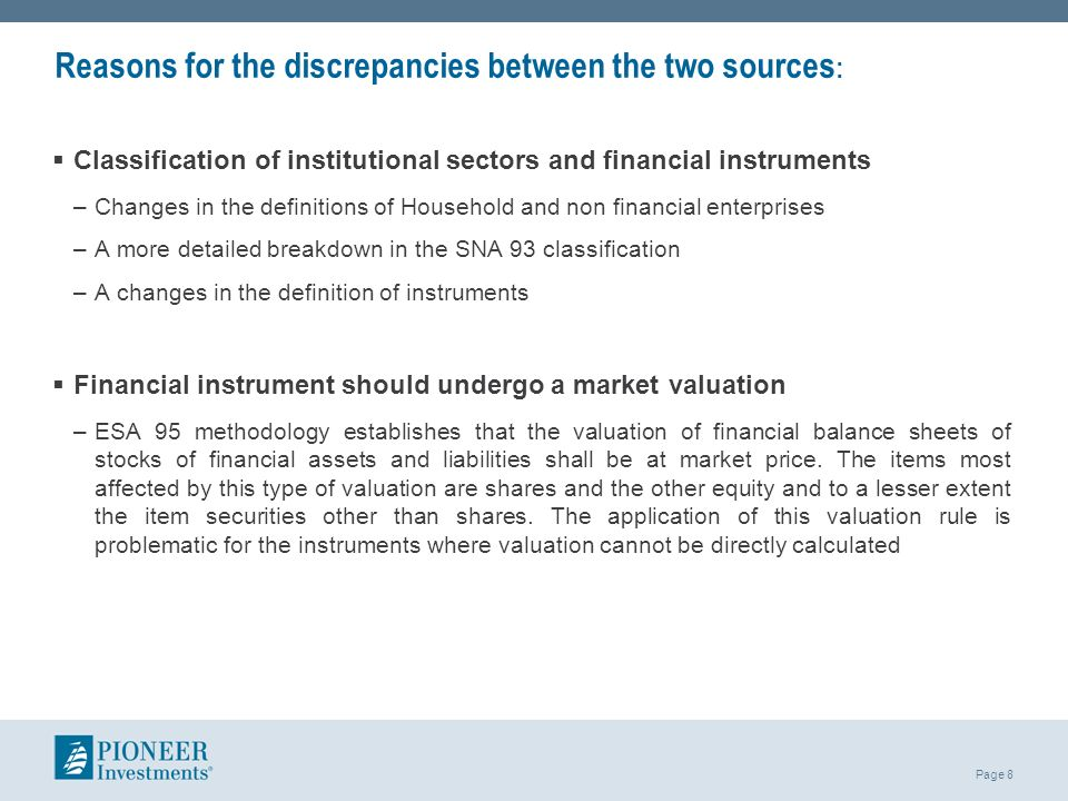 Reasons for the discrepancies between the two sources: