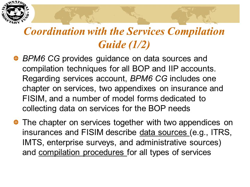 Coordination with the Services Compilation Guide (1/2)