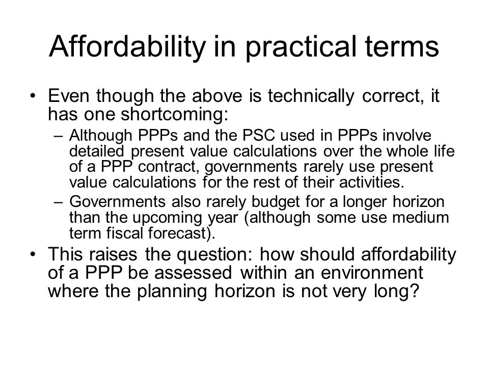 Affordability in practical terms