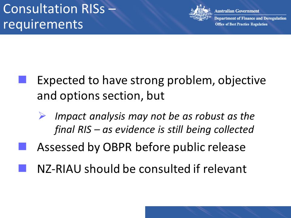 Consultation RISs – requirements
