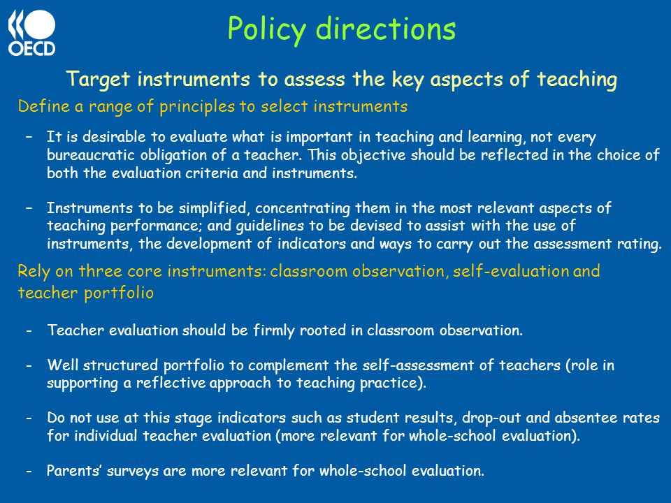 Target instruments to assess the key aspects of teaching