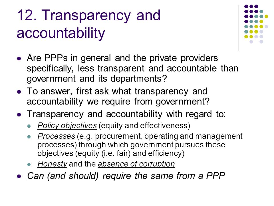 12. Transparency and accountability