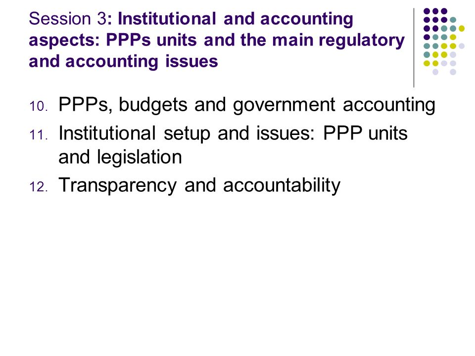 PPPs, budgets and government accounting