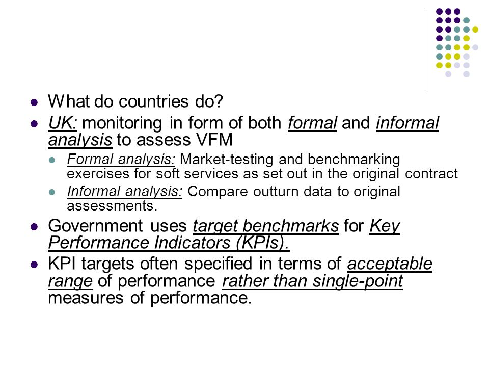 What do countries do UK: monitoring in form of both formal and informal analysis to assess VFM.