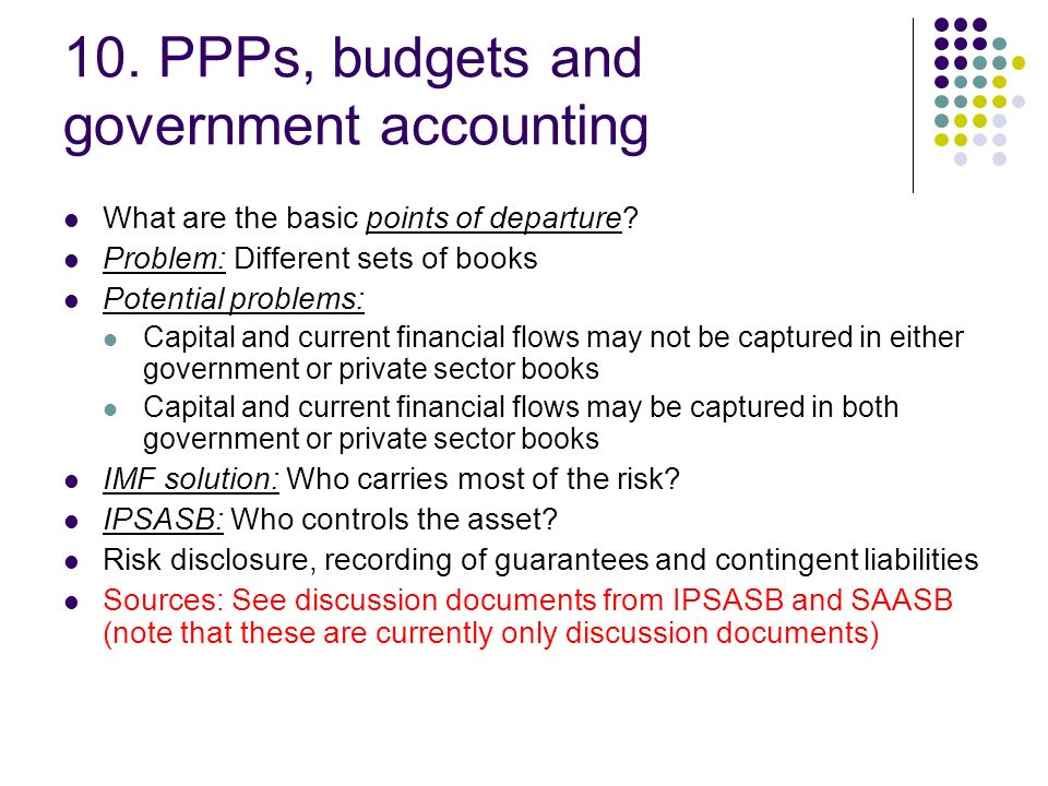 10. PPPs, budgets and government accounting