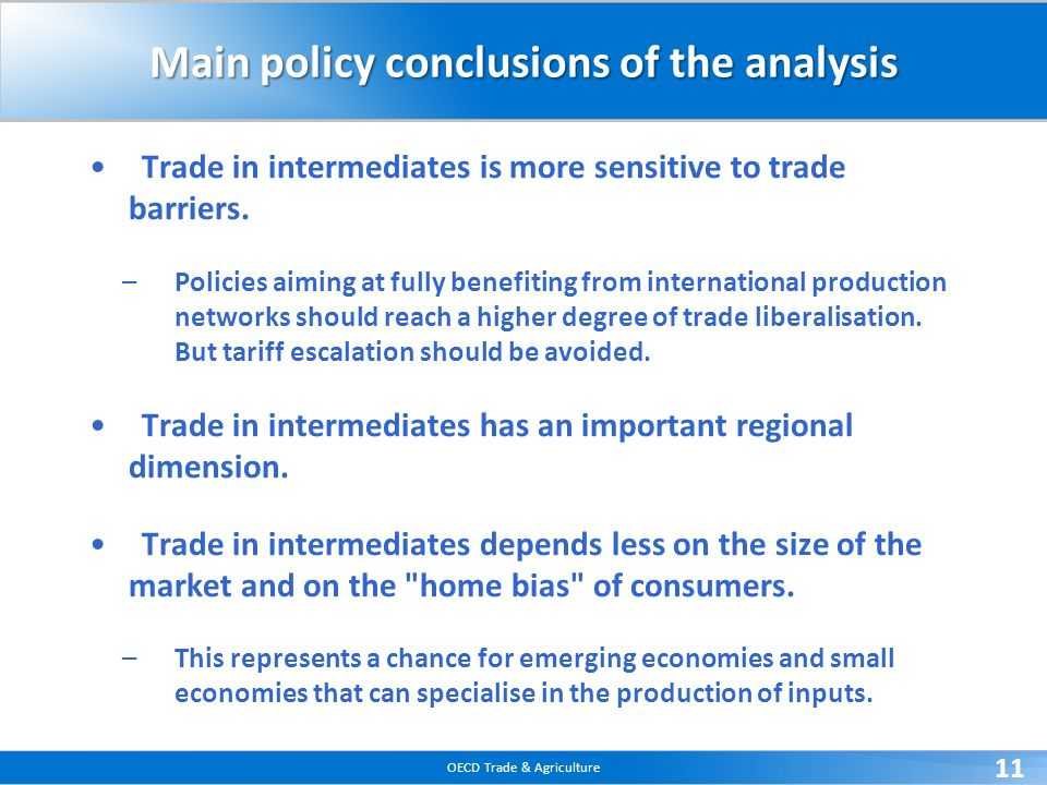 Main policy conclusions of the analysis