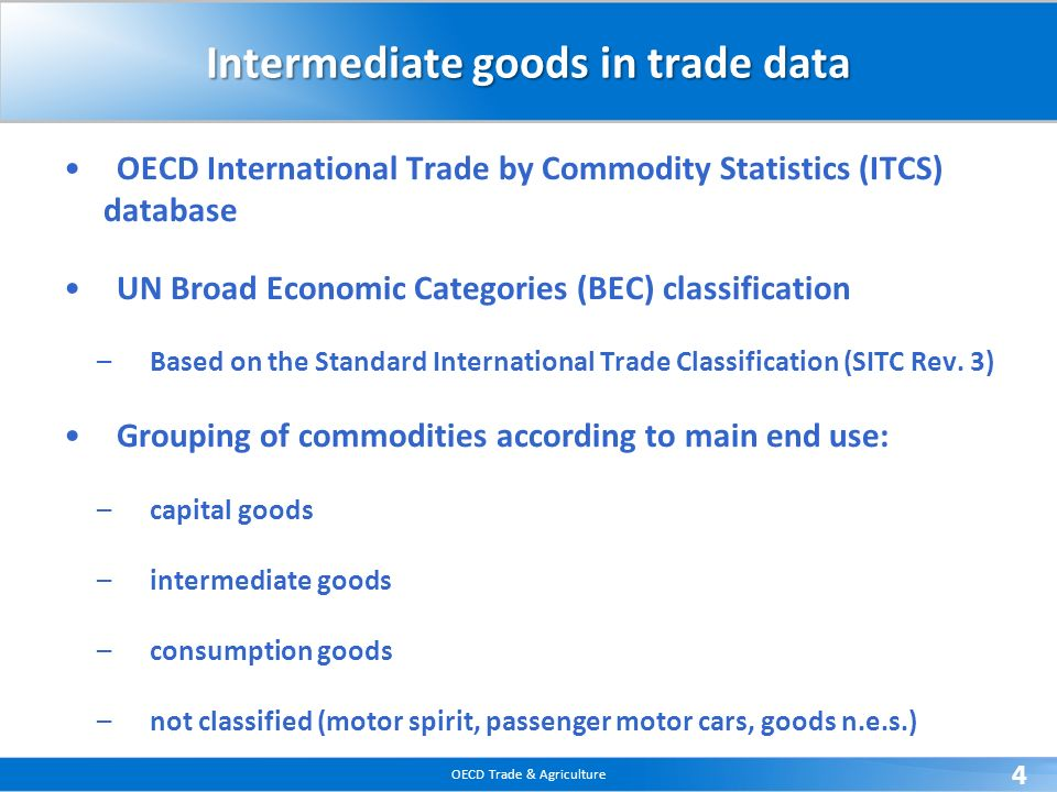 Intermediate goods in trade data