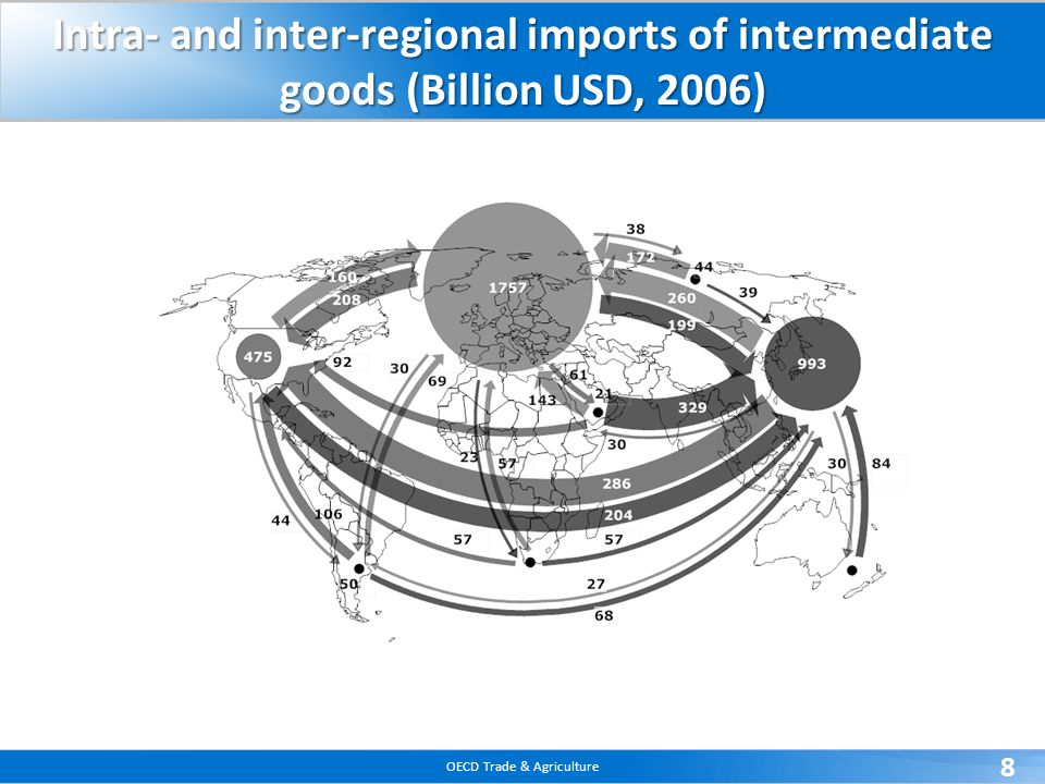 Intra- and inter-regional imports of intermediate goods (Billion USD, 2006)