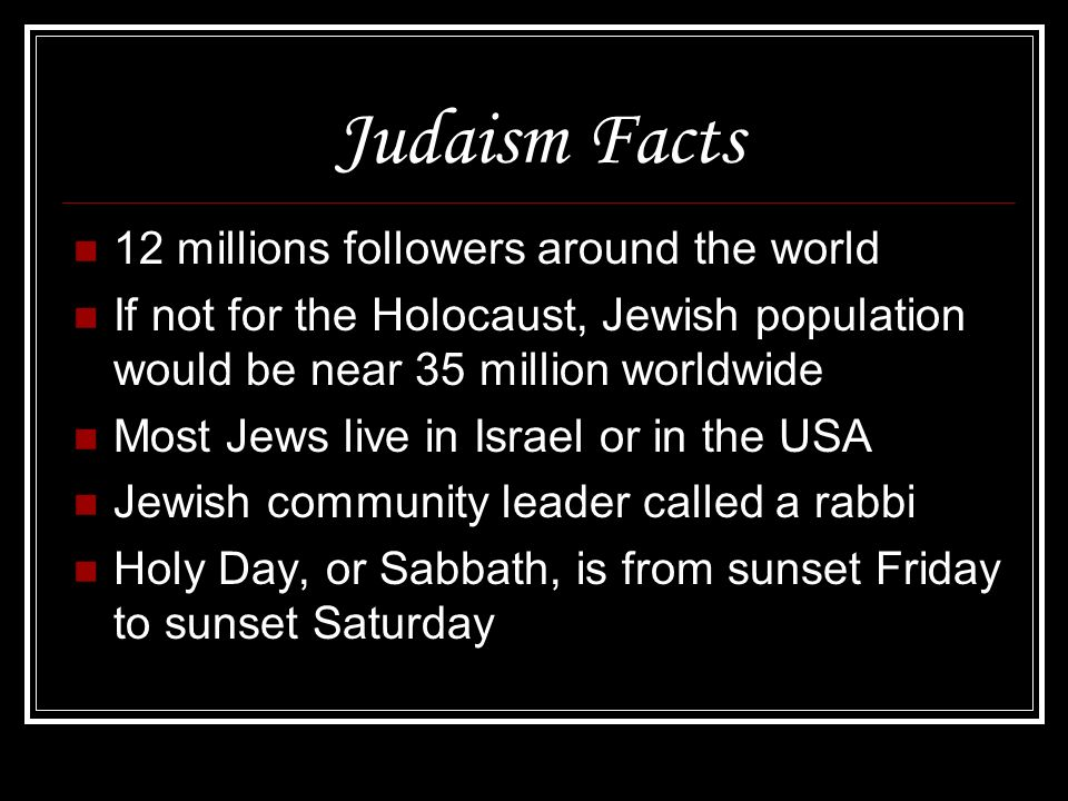 Judaism Facts 12 millions followers around the world