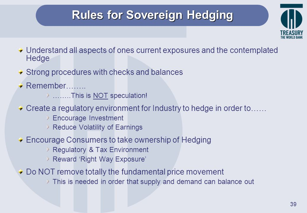 Rules for Sovereign Hedging