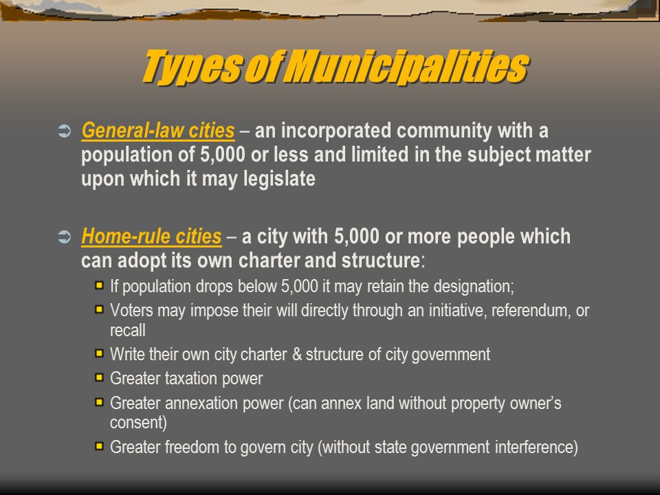 types of municipalities