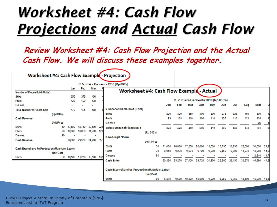 worksheet 4 cash flow projections and actual cash flow