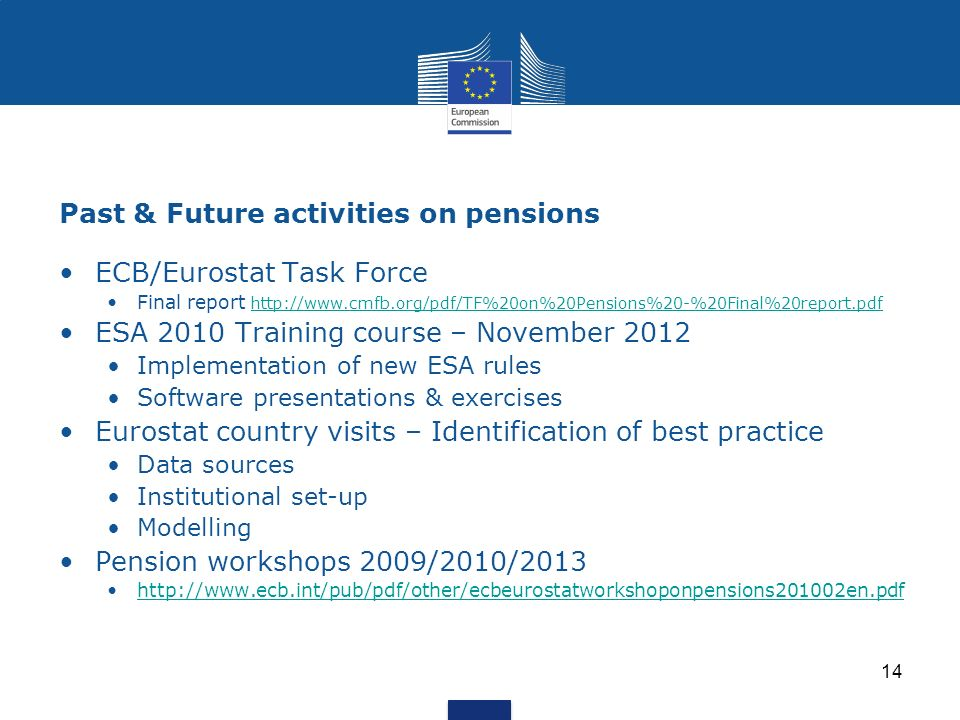 Past & Future activities on pensions