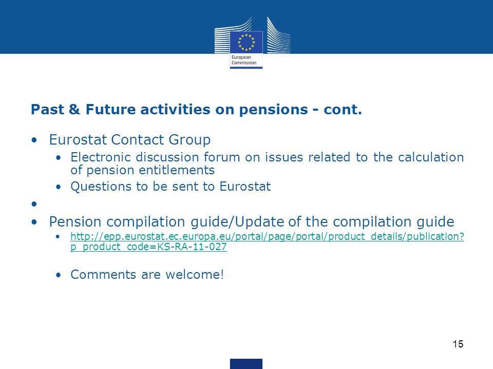 Past & Future activities on pensions - cont.