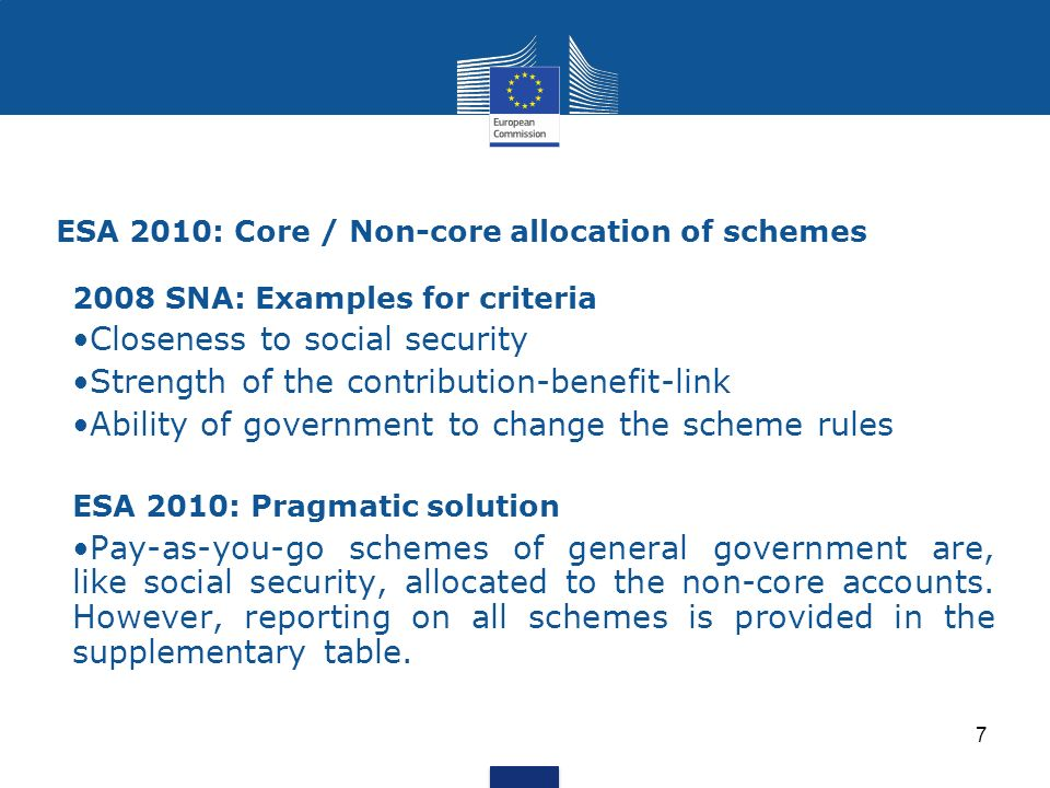 ESA 2010: Core / Non-core allocation of schemes