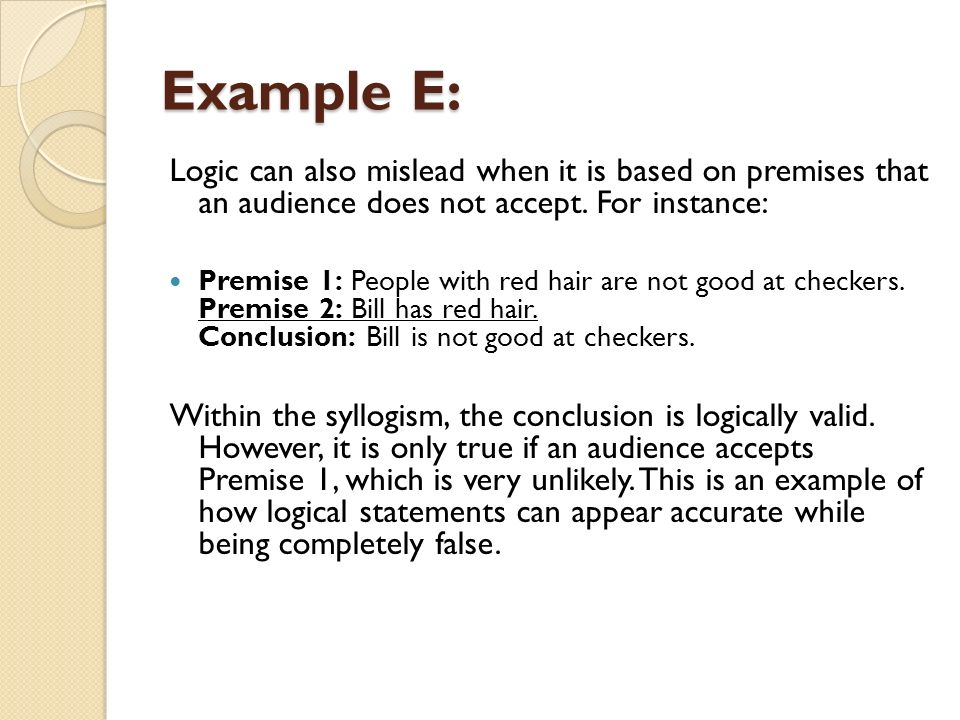 Premises and conclusions.