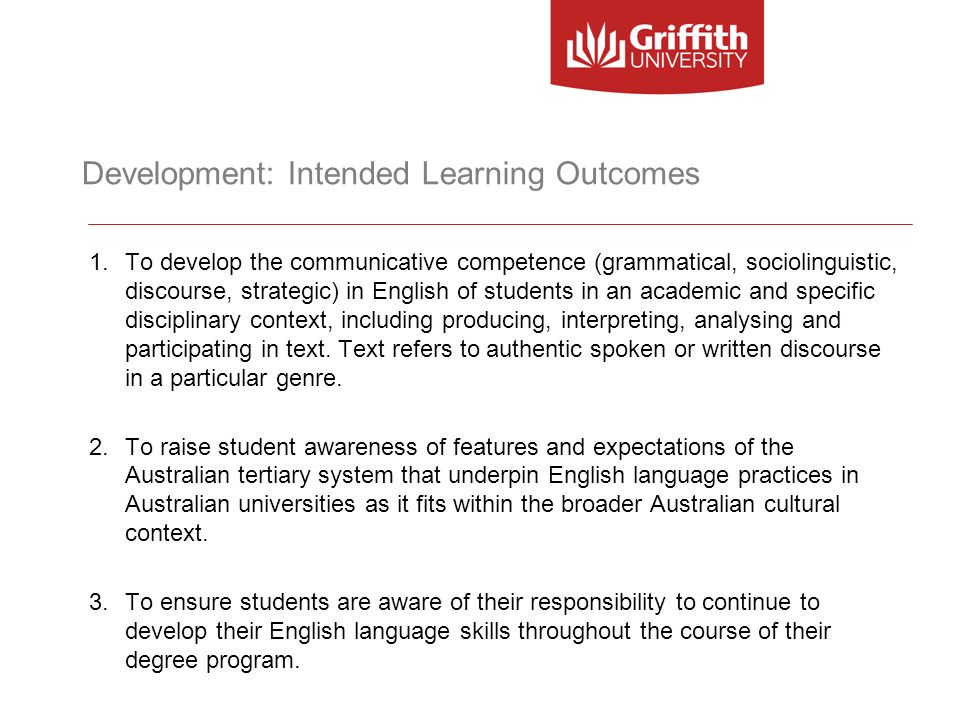 Development: Intended Learning Outcomes