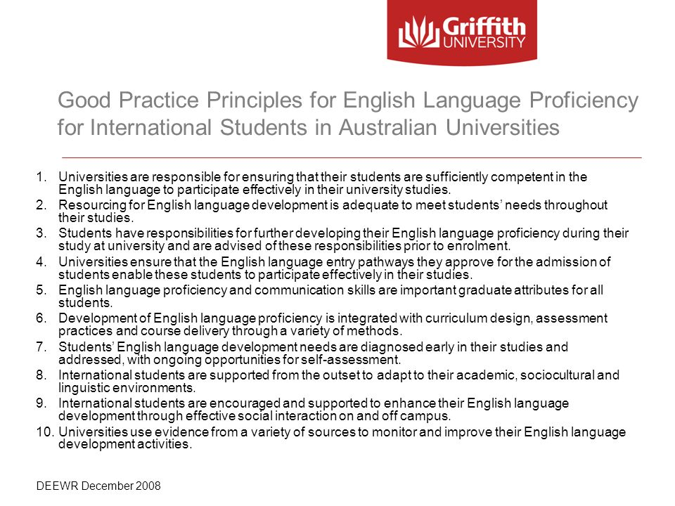 Good Practice Principles for English Language Proficiency for International Students in Australian Universities