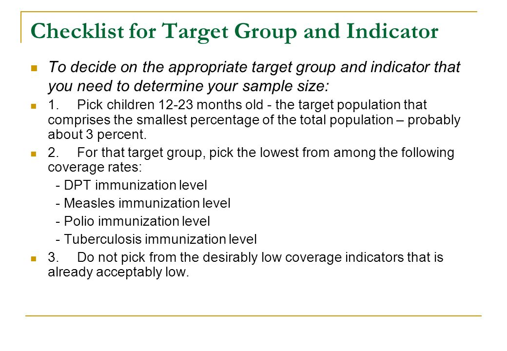 Checklist for Target Group and Indicator