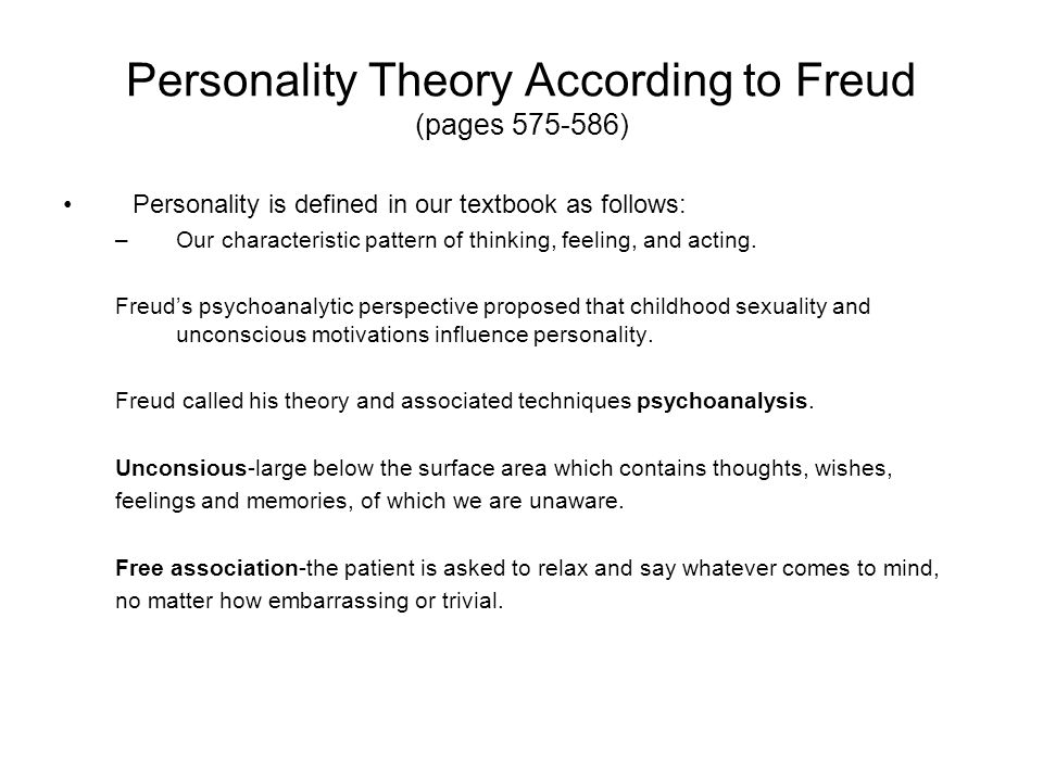 Personality free association psychoanalysis and sexuality