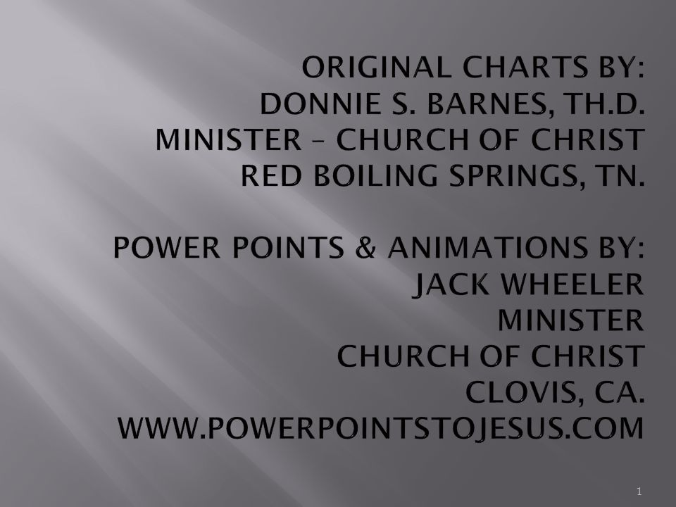 Original Charts By Donnie S Barnes Th D