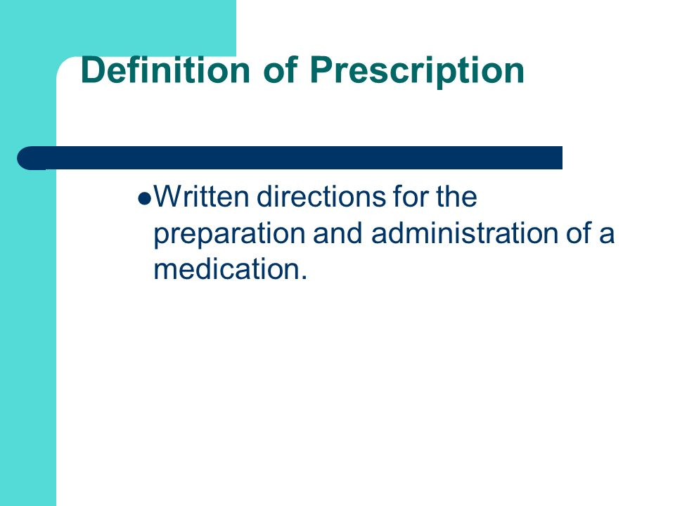 Definition of Prescription