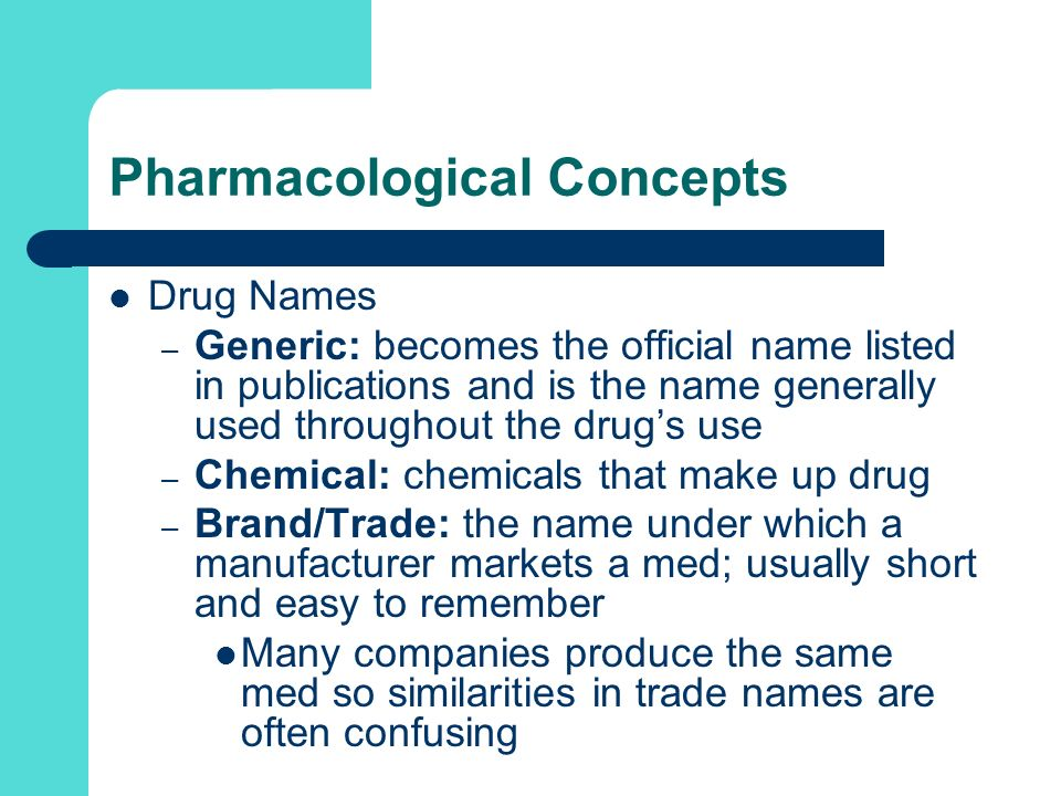 Pharmacological Concepts