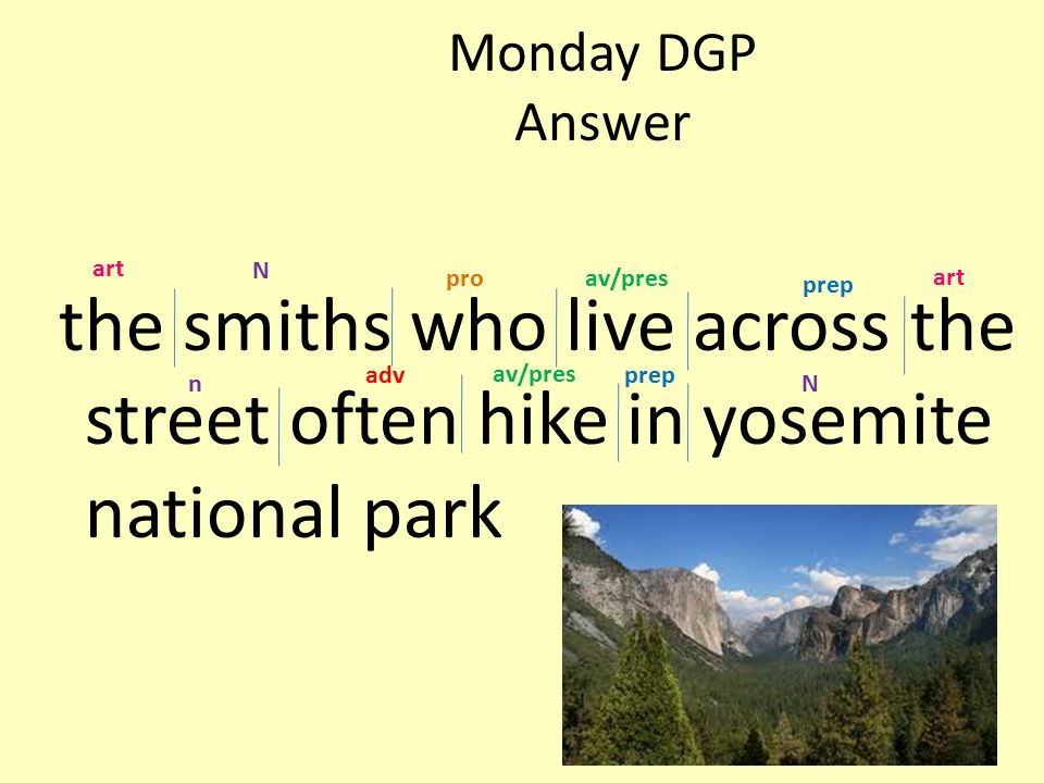 Monday DGP Answer the smiths who live across the street often hike in yosemite national park. art.
