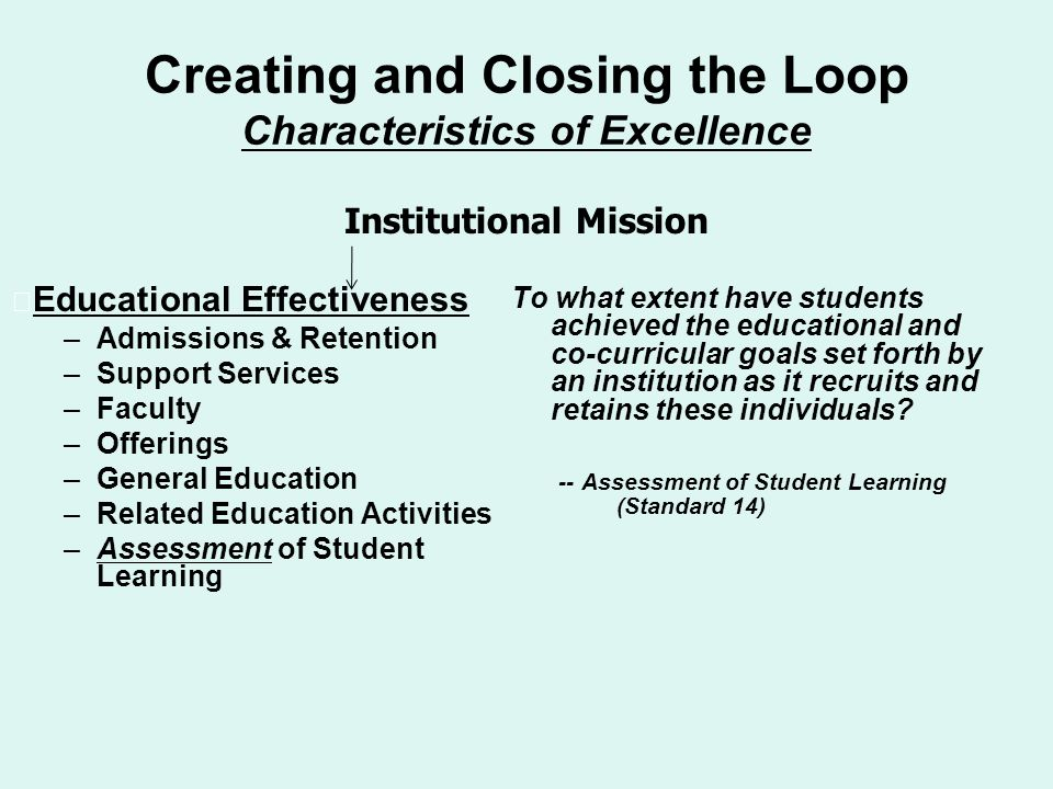 Creating and Closing the Loop Characteristics of Excellence