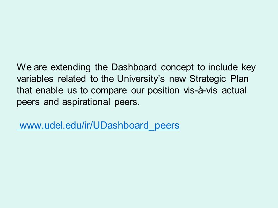 We are extending the Dashboard concept to include key variables related to the University's new Strategic Plan that enable us to compare our position vis-à-vis actual peers and aspirational peers.