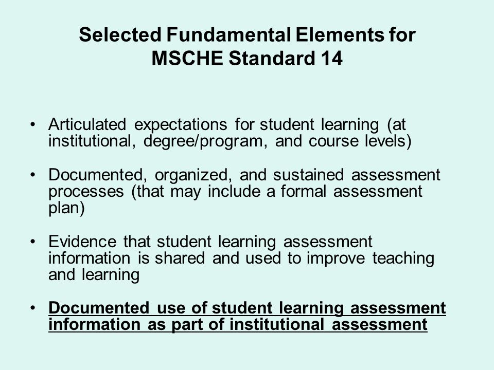 Selected Fundamental Elements for MSCHE Standard 14