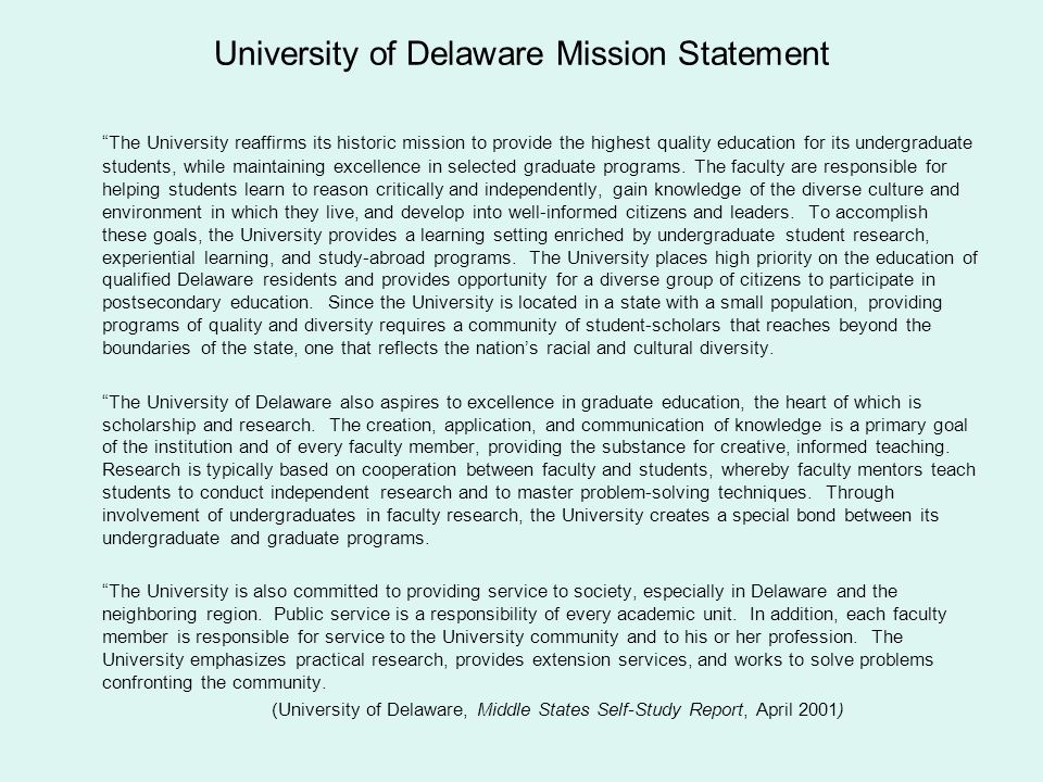 University of Delaware Mission Statement