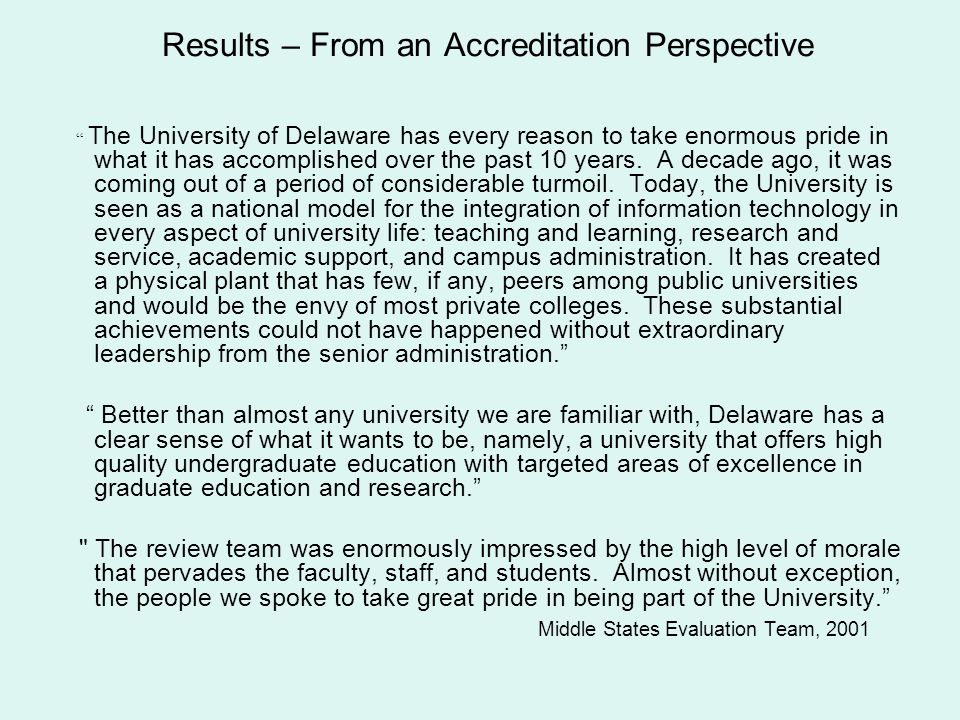 Results – From an Accreditation Perspective
