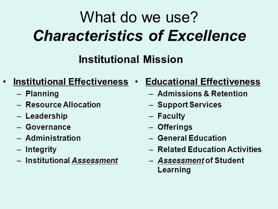 What do we use Characteristics of Excellence