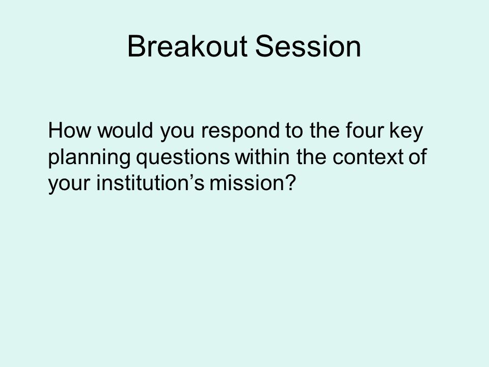 Breakout Session How would you respond to the four key planning questions within the context of your institution's mission