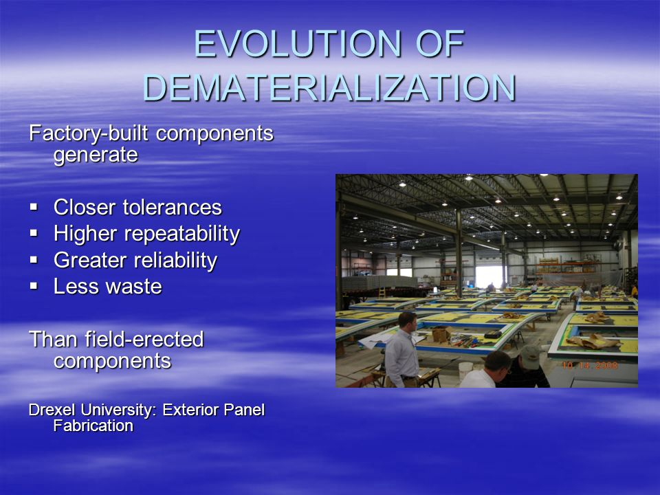 EVOLUTION OF DEMATERIALIZATION