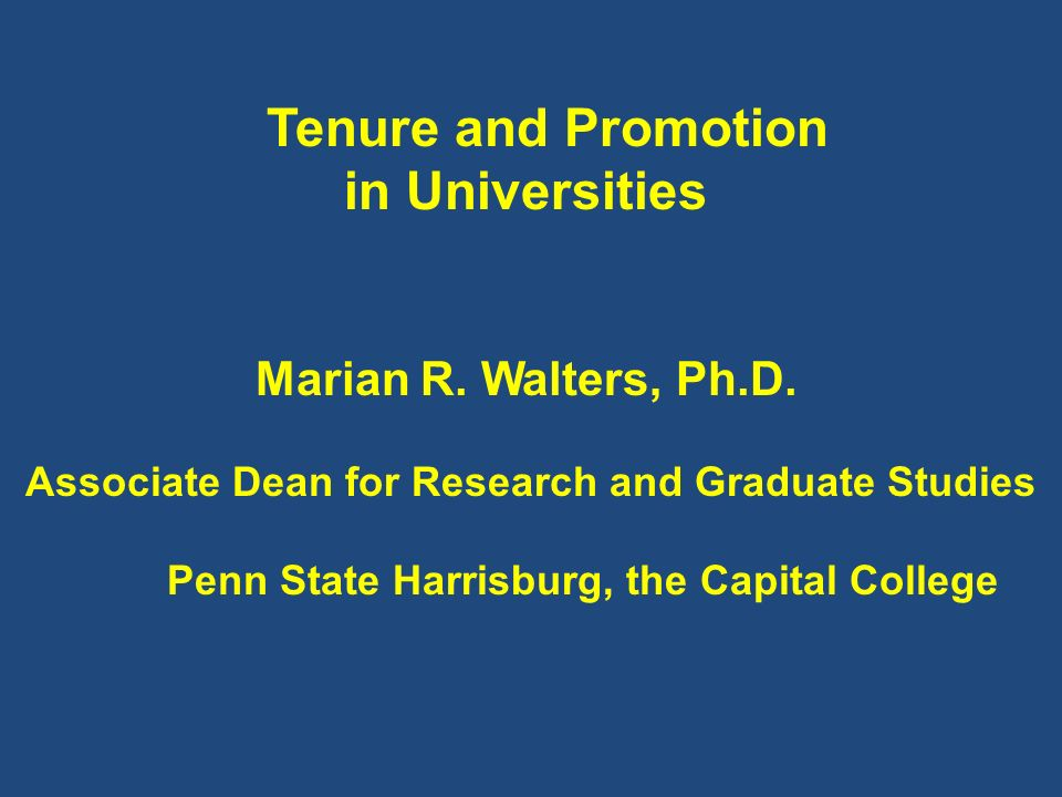 Tenure and Promotion in Universities