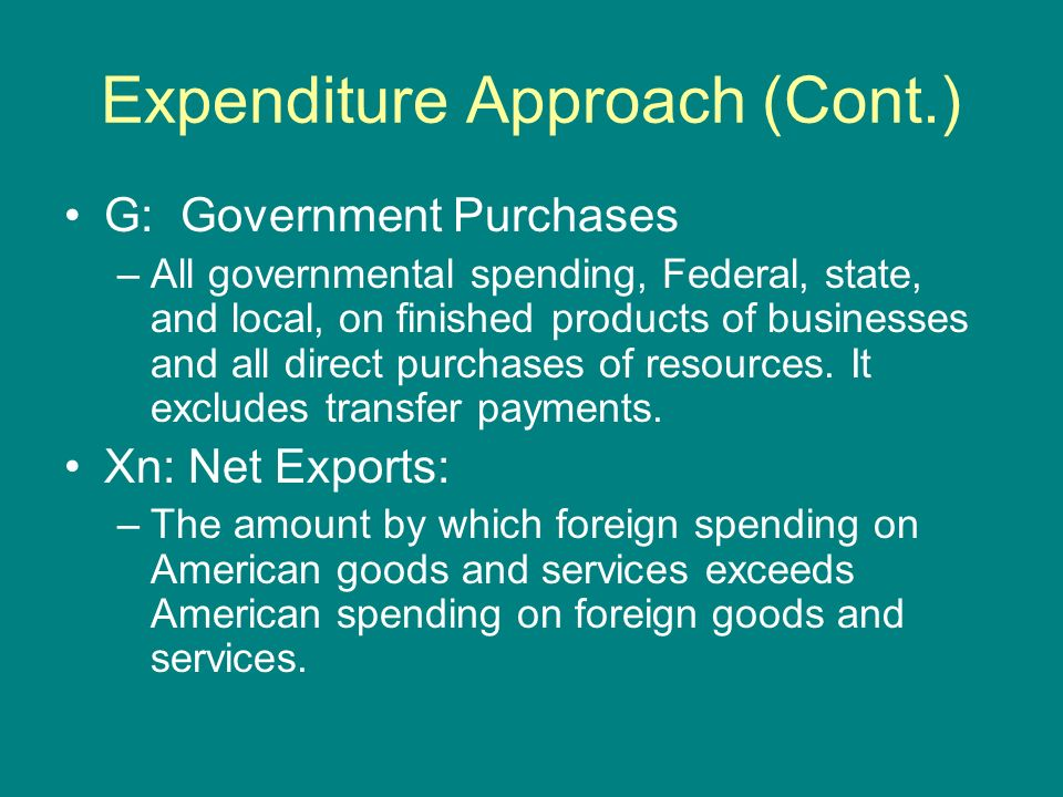 Expenditure Approach (Cont.)