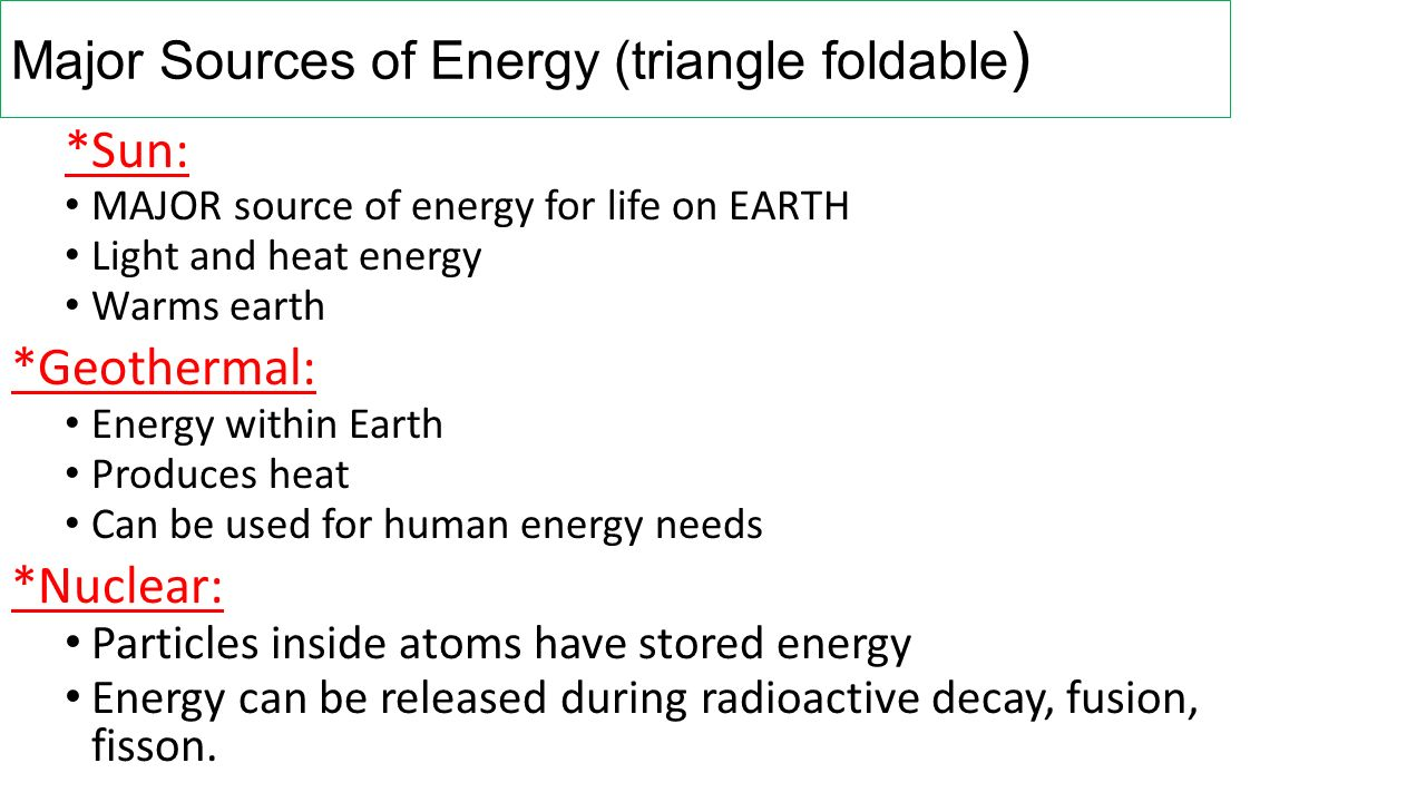 Major Sources of Energy (triangle foldable)