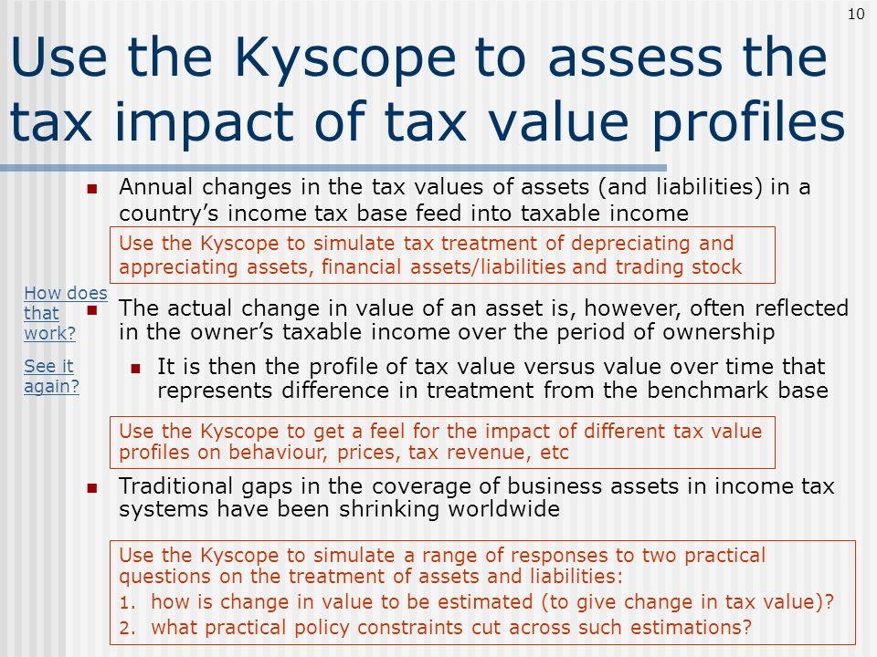 Use the Kyscope to assess the tax impact of tax value profiles