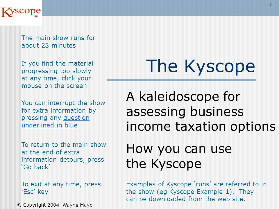 A kaleidoscope for assessing business income taxation options