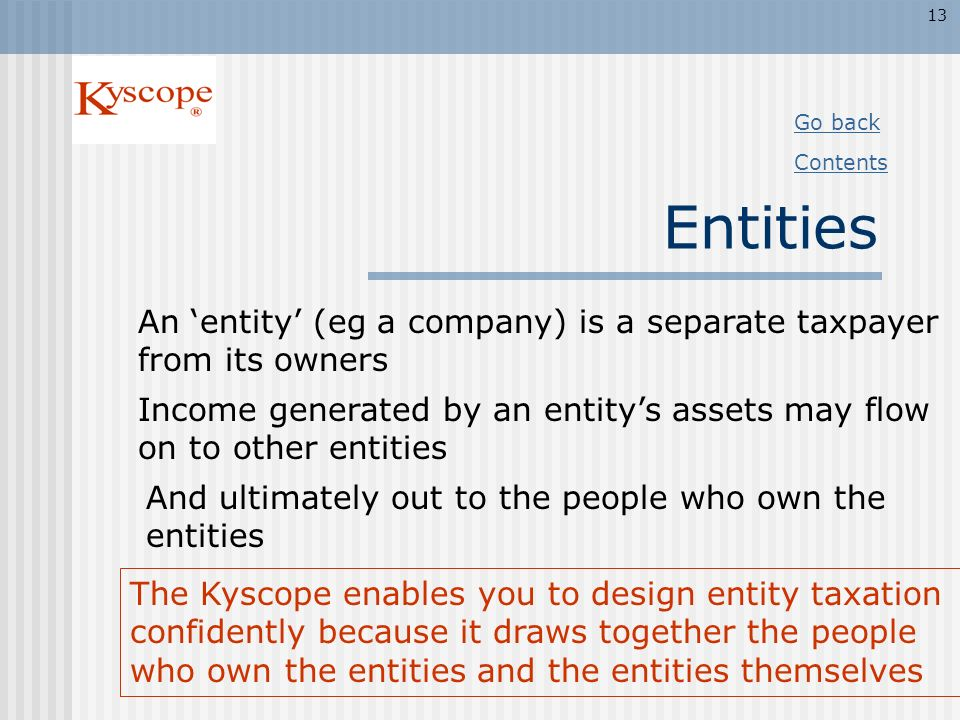 13 Go back. Contents. Entities. An 'entity' (eg a company) is a separate taxpayer from its owners.