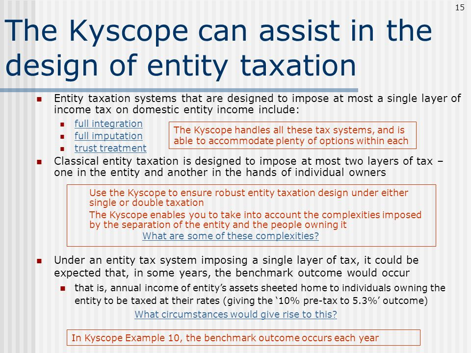 The Kyscope can assist in the design of entity taxation