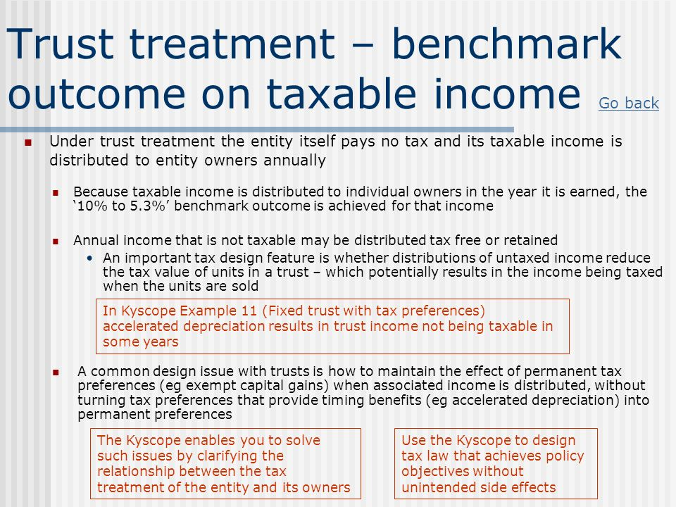 Trust treatment – benchmark outcome on taxable income
