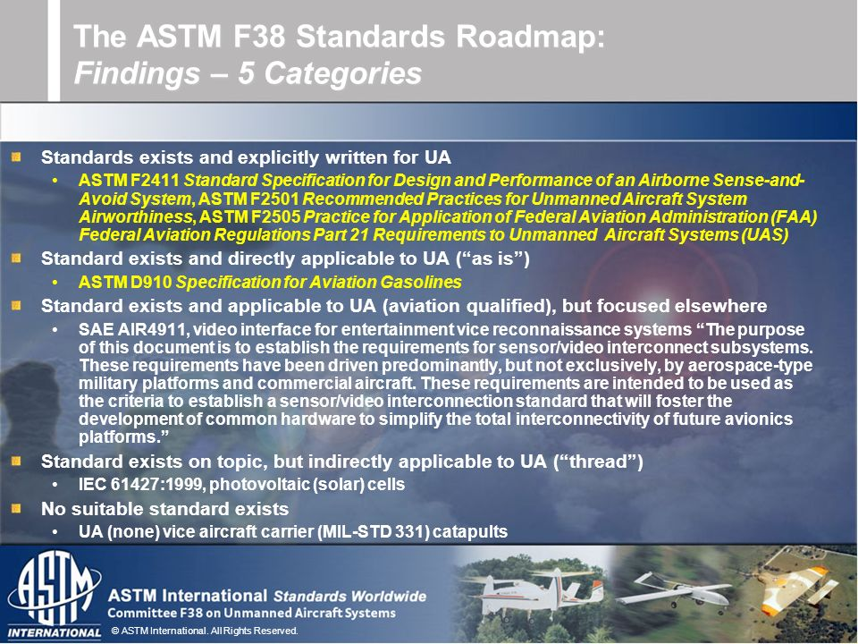 The ASTM F38 Standards Roadmap: Findings – 5 Categories