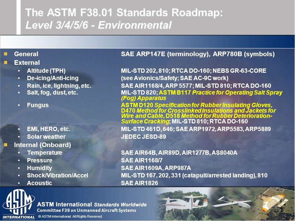 The ASTM F38.01 Standards Roadmap: Level 3/4/5/6 - Environmental