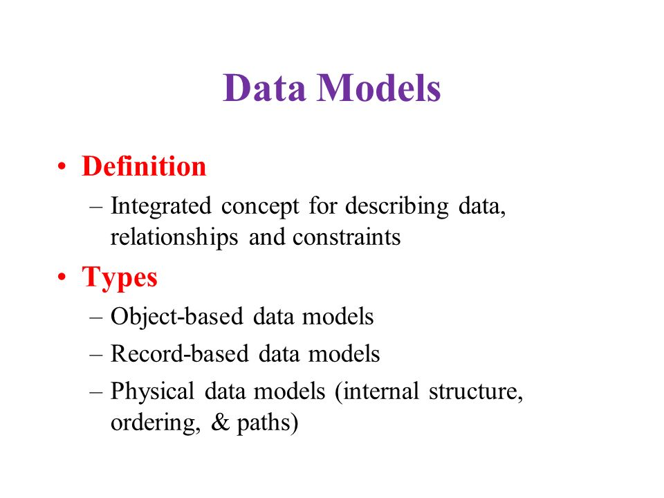 Data Models Definition Types