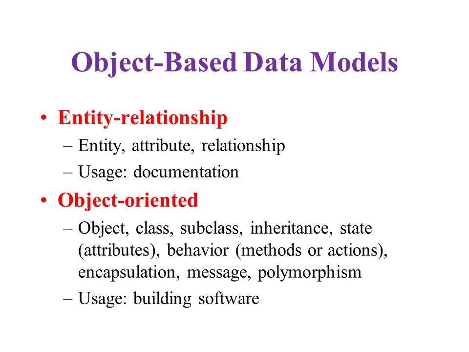 Object-Based Data Models