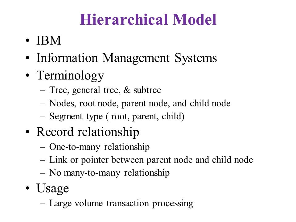 Hierarchical Model IBM Information Management Systems Terminology